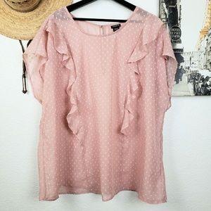 TORRID Blush Pink Polka Dot Sheer Ruffle Blouse 3X